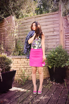 hot pink Zara skirt - karen millen top