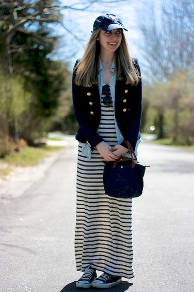 navy H&M blazer - white striped Forever 21 dress - navy rugby hat