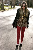 ruby red skinny Flying Monkey jeans - dark brown Alexander Wang bag
