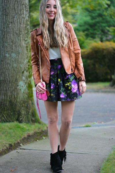 tawny moto Zara jacket - black fringe booties sam edelman boots