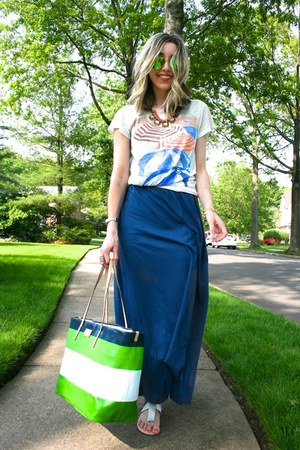 green striped tote kate spade bag - navy maxi James Perse dress