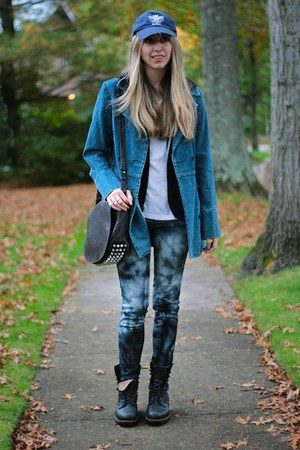 light blue denim Juicy Couture coat - black combat Frye boots