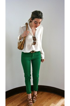 green skinny Zara jeans - dark brown tortoise Gucci sunglasses
