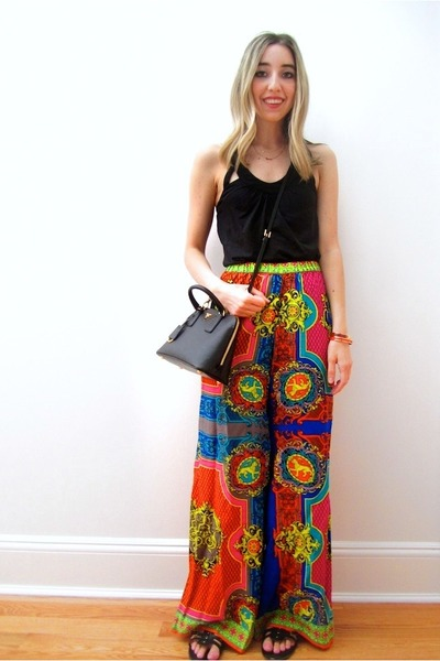 black Prada bag - ruby red scarf print Forever 21 pants