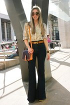 neutral camo Michael Kors blouse - navy flare Urban Outfitters jeans