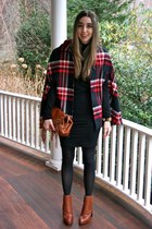 bronze anabela Alexander Wang boots - black turtleneck American Apparel dress