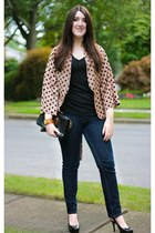 camel Line and Dot jacket - navy dl1961 jeans - black clutch tory burch bag