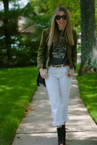 black lace-up Payless boots - white J Brand jeans - army green Joie jacket