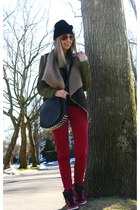 brick red skinny Flying Monkey jeans - black beanie asos hat