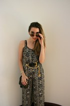 black Chanel bag - gold aviators Ralph Lauren sunglasses - black Chanel belt - b