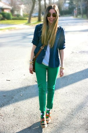 green skinny Zara jeans - navy button down Ralph Lauren shirt
