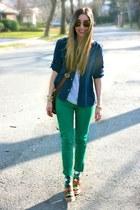 green skinny Zara jeans - navy button down Ralph Lauren shirt
