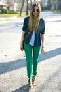 Green-skinny-zara-jeans-navy-button-down-ralph-lauren-shirt