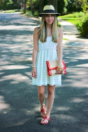 white Walter Baker dress - ruby red clutch H&amp;M bag