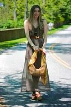light brown maxi dress Forever 21 dress - gold silk Hermes scarf