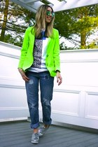 chartreuse neon Line & Dot blazer - silver metallic asos shoes