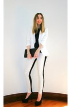 white two tone Hudson jeans - white boyfriend H&M blazer