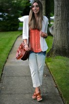 white Forever 21 blazer - light blue bleached diy jeans - tawny satchel H&M bag