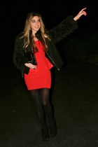 red peplum Charlotte Russe dress - black fur sleeved Zara jacket