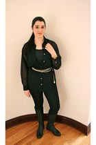 black nylon American Apparel leggings - black chiffon American Apparel blouse