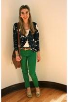 green skinny jeans Zara jeans - bronze H&M bag - navy printed J Crew cardigan