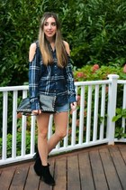 blue diy Urban Outfitters shirt - black fringe booties sam edelman boots