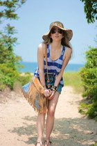 sky blue fringe Bebe bag - tan straw JCrew hat - sky blue vintage Levis shorts