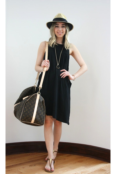 black Cheap Monday dress - brown weekender Louis Vuitton bag
