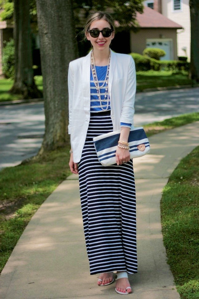Blue Striped Maxi Skirt - Skirts