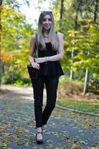 black coated J Brand jeans - black peplum asos top - black Guess pumps