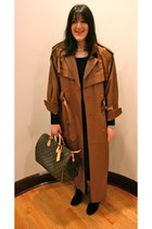 bronze trench coat vintage coat - black booties sam edelman boots