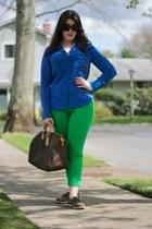 blue silk J Crew blouse - green skinny jeans J Crew jeans