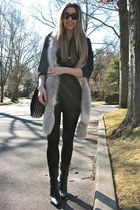 navy J Crew blouse - black HUE tights - dark brown Alexander Wang bag