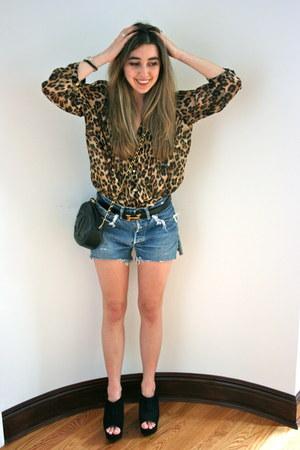 black vintage Chanel bag - sky blue cutoffs Levis shorts - gold Hermes belt - bl