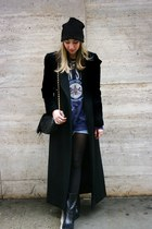 black point toe Nordstrom boots - black Ralph Lauren coat - black asos hat