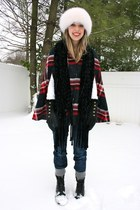 red plaid Urban Outfitters cape - black Frye boots - navy Hudson jeans