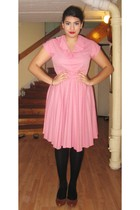 pink second hand dress - black H&M stockings - brown Din Sko shoes