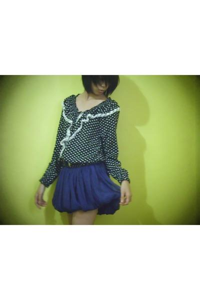deep purple sheer skirt - navy polka cardigan