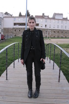 black Topshop boots - black Mango jeans - black Zara blouse - Zara vest - black 