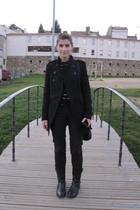 black Topshop boots - black Mango jeans - black Zara blouse - Zara vest - black