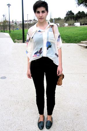 brown messenger Topshop bag - cream floral print acne blouse - black Zara pants