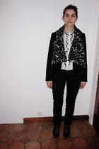 black Pimkie jeans - black Zara blazer - white Zara blouse - silver Zara vest -