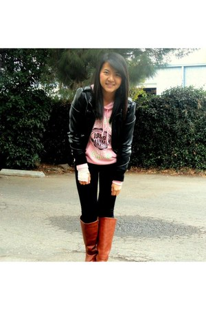 black leather jacket - tawny boots - light pink hoodie