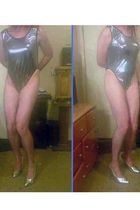 silver custom made swimwear - silver Pleaser shoes