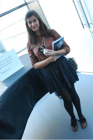 grey Calzedonia tights - chiffon pink Zara shirt - dark grey Zara skirt