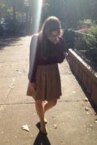 crimson Forever 21 blouse - mustard H&M flats - camel Forever 21 skirt
