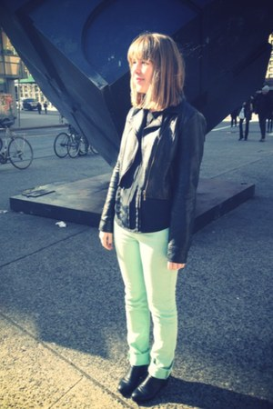 black H&M boots - aquamarine BDG jeans - black Copper Key jacket