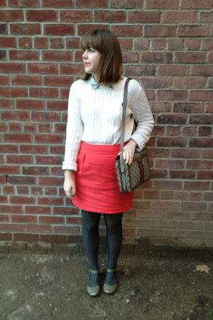 Ralph Lauren sweater - asos shirt - HUE tights - Gucci bag - michelle d flats