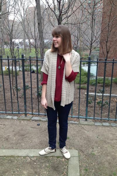 brick red Forever 21 blouse - navy BDG jeans - camel Forever 21 sweater
