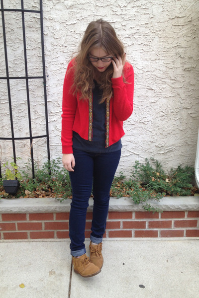 ruby red Urban Renewal sweater - brown Jcrew boots - navy H&amp;M jeans